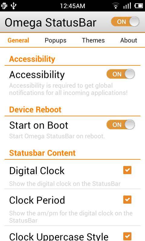 Omega StatusBar - screenshot