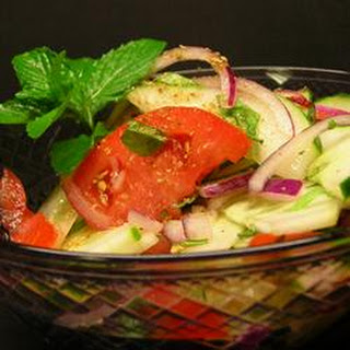 Cucumber, Tomato and Red Onion Salad With Mint.