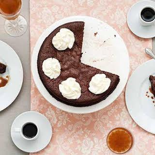 Gluten Free Flourless Chocolate Date Cake with Caramel Sauce.