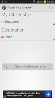 Screenshot of Travel Visa Checker