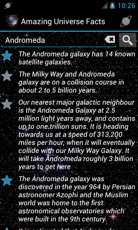 Amazing Universe Facts - screenshot