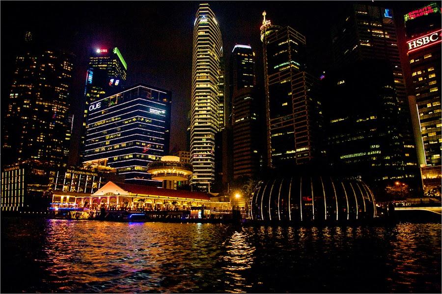 Singapore Skyline by Maricha Knight van Heerden - City,  Street & Park  Night ( lights, skyline, hsbc, night time, night, singapore, river )