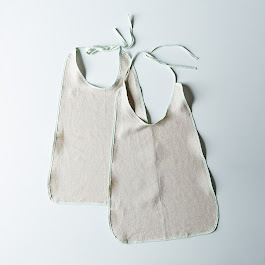 Seersucker-Trimmed Lobster Bibs (Set of 2)