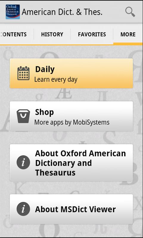 Oxford American & Thesaurus - screenshot