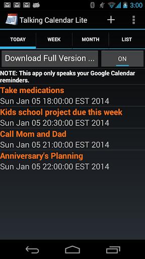 Talking Calendar Lite