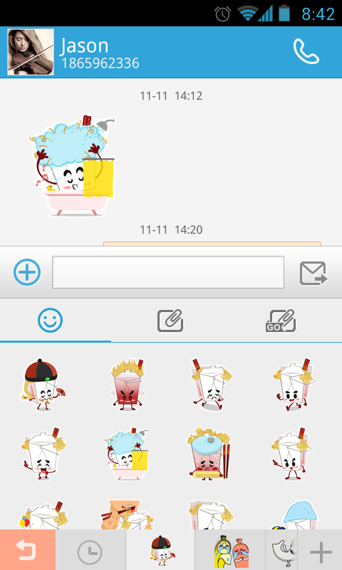 GO SMS Pro Chowmein Sticker - screenshot