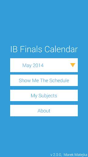 IB Finals Calendar