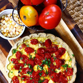 Roasted Tomato & Corn Pie with Smoked Gouda and Caramelized Onions