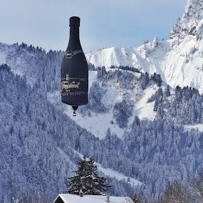 Do you want a drink? by Konstanze Singenberger - Food & Drink Alcohol & Drinks ( snow, sekt, bottle, ballon )