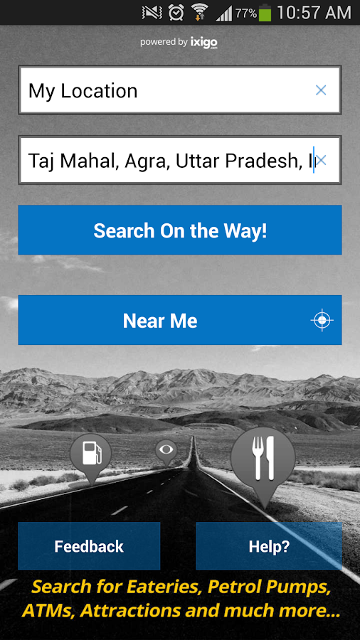 ixigo road trips dhaba atms - screenshot