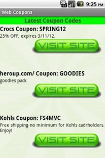 Web Coupons- screenshot thumbnail