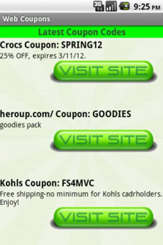 Web Coupons - screenshot