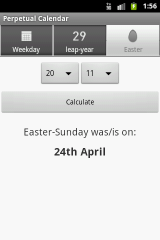 Perpetual Calendar - screenshot