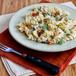 Tuna Pasta Salad Recipe with Lemon, Green Olives, and Cucumbers.