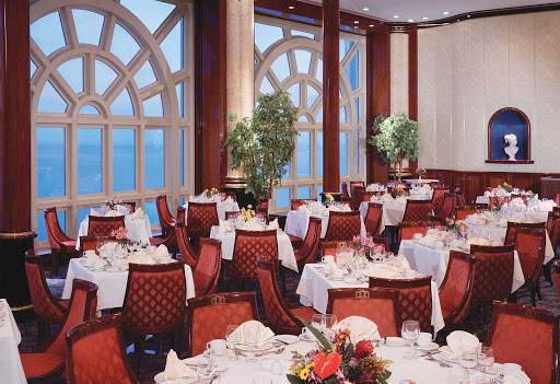 Norwegian-Spirit-dining-Windows-main-dining-room - Sit down for a filling dinner and panoramic views at Windows, one of Norwegian Spirit's two main dining rooms, on deck 6.