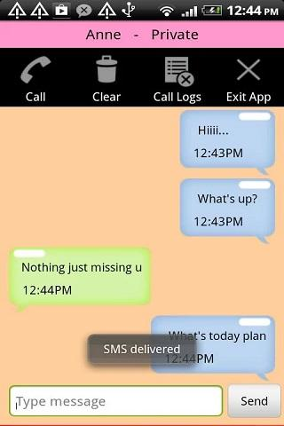 Hide SMS Text Contact Call Log- screenshot