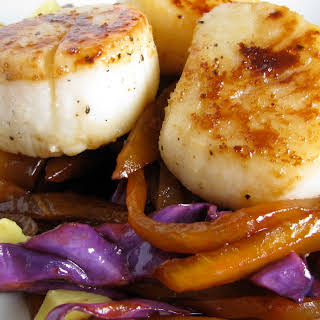 Seared Scallops with Carmelized Mango Slaw.