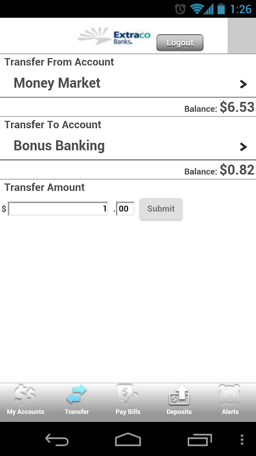 Extraco MobileBank - screenshot
