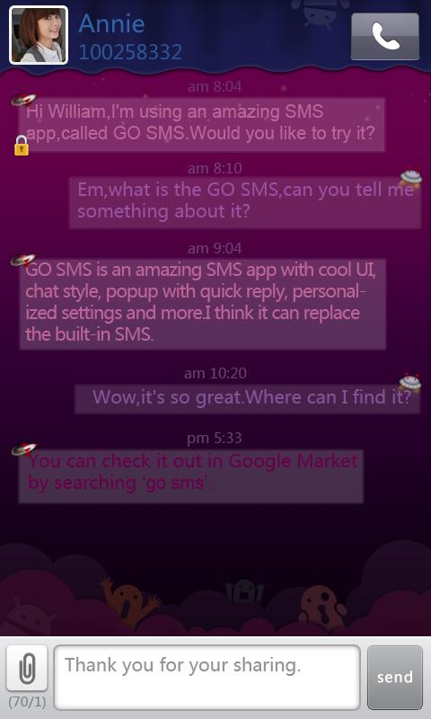 GO SMS Pro Purple theme screenshot #1