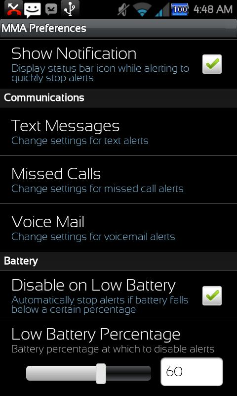 Missed Message Alerts - FOSS - screenshot