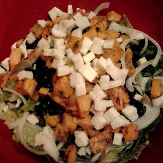 Low-cal Black & Orange Salad w/Raspberry Vinaigrette (shown pre-dressing).