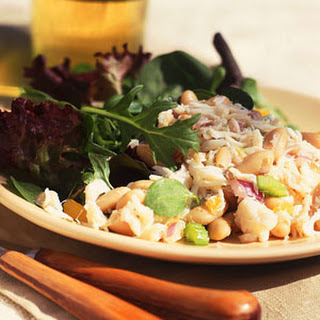 Crab Salad with White Beans and Gourmet Greens.