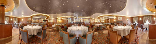 Amalfi-dining-Star-Princess - The Amalfi dining room, toward the rear of deck 6, is Star Princess's traditional dining room, with two set seatings and a set menu.