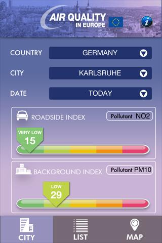Air Quality in Europe - screenshot