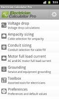 Screenshot of Electrician Calculator Pro