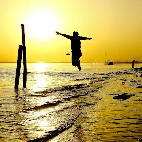 by Shivalkar Jha - Landscapes Beaches ( lonley beach, sunset, diamond harbour, india, shivalkar jha )