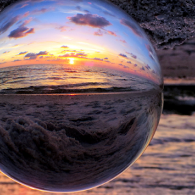 Nightfall in Paradise by Elfie Back - Artistic Objects Glass ( glass art, sunset, sphere, beach, , blue, orange. color, creativity, lighting, art, artistic, purple, mood factory, lights, color, fun )