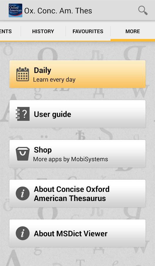 Concise Oxford American Thesau - screenshot