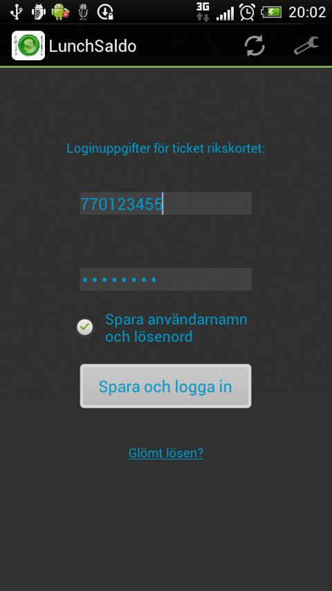 Lunchsaldo (saldo rikskortet) - screenshot
