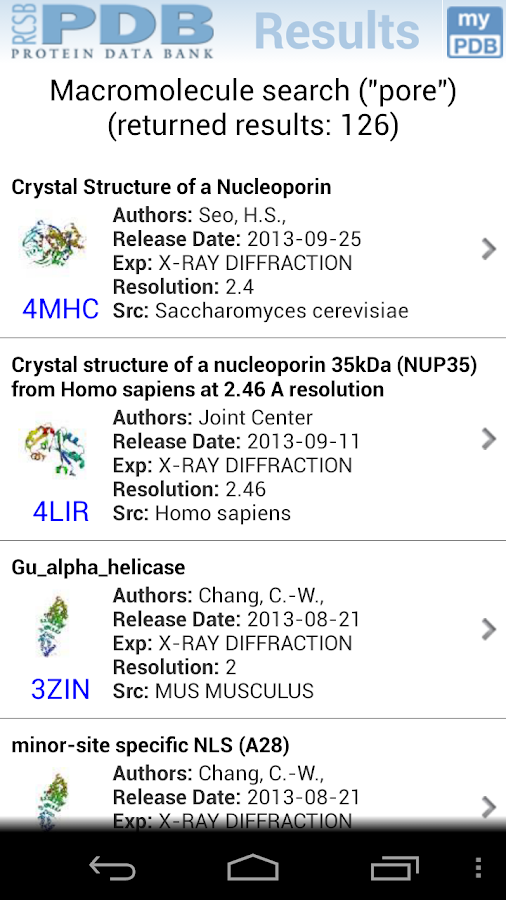 RCSB PDB Mobile - screenshot
