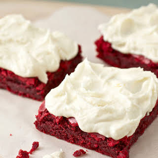 Red Velvet Brownies with White Chocolate Buttercream Frosting.