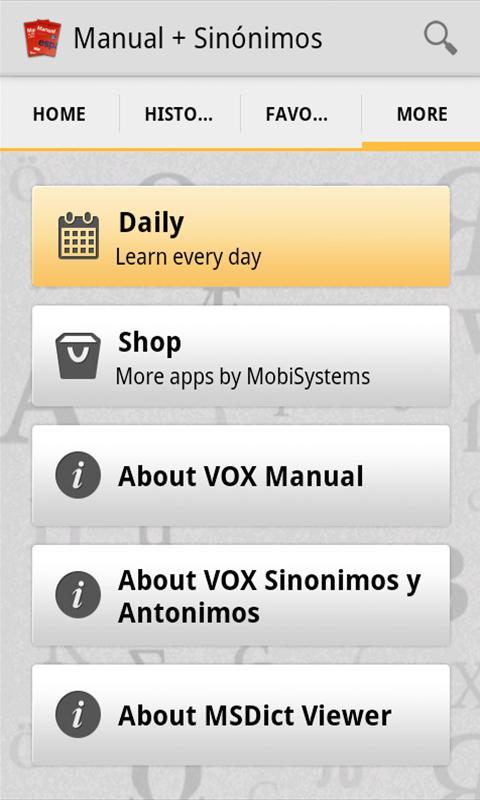 VOX Compact Spanish+Thesaurus - screenshot