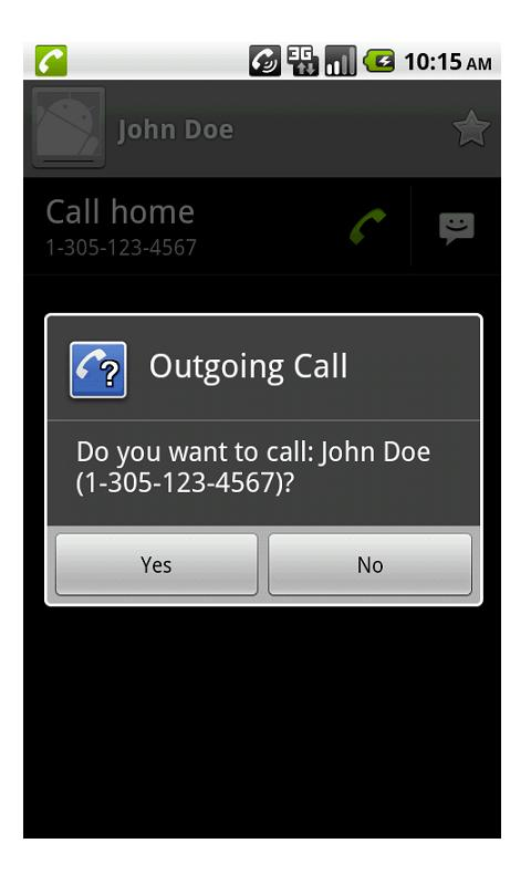 Outgoing Call Confirm - screenshot