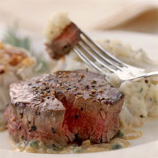 Filet Mignon with Peppercorn Mustard Sauce.