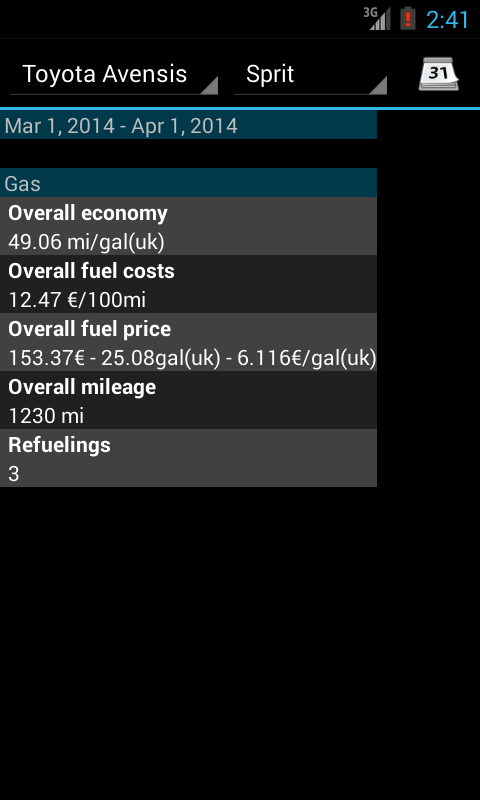 Refueling database- screenshot