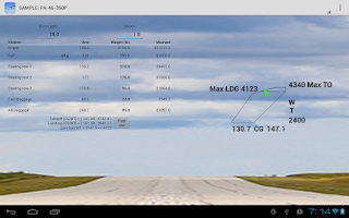 Screenshot of Aircraft Weight and Balance
