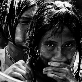 Emotions. by Jamaluddin Abdul Jalil - People Street & Candids ( #thailand, #wet#doused#water, #event#girls#eyes#soaking, #monochrome#emotions#songkran,  )