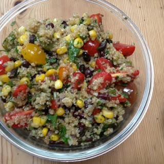 Beanoa (aka Quinoa Salad with Black Beans, Tomatoes, Corn, and Rajas)