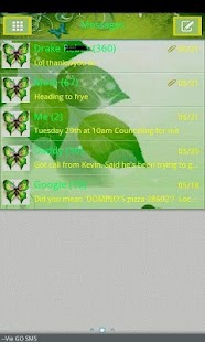 GO SMS THEME/greenbutterfly - screenshot thumbnail