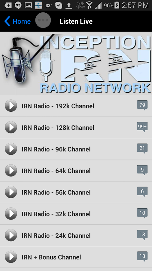Inception Radio Network- screenshot
