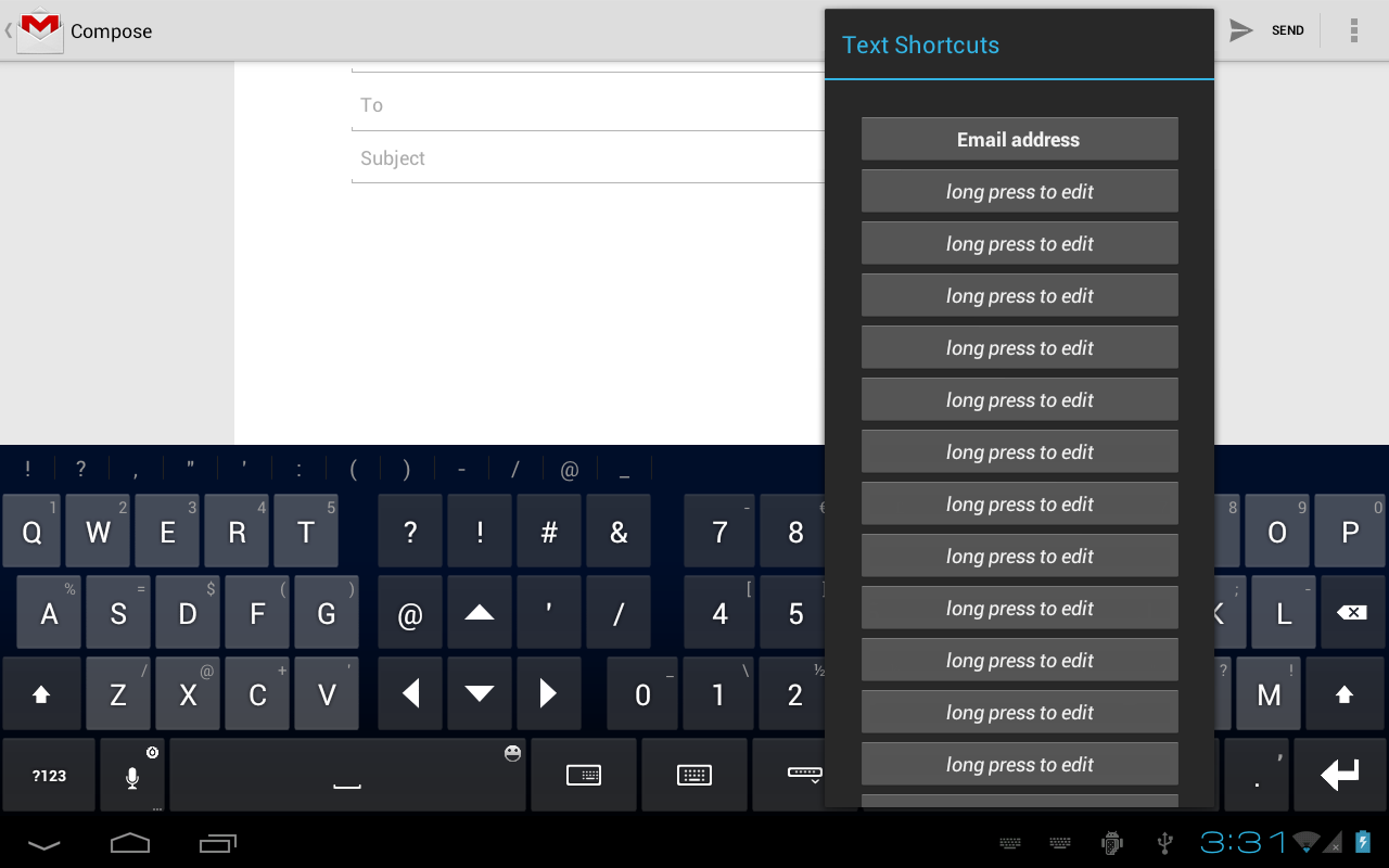 Thumb Keyboard - screenshot