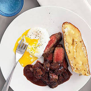 Steak and Eggs with Creamy Mushroom Sauce.