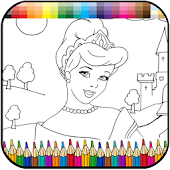 Princess coloring kids paint