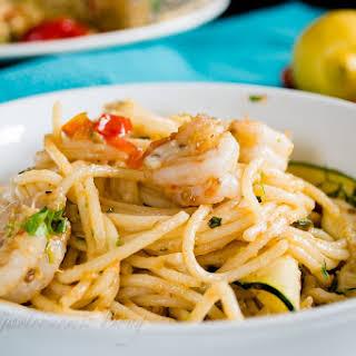 Perfect Summer Pasta- Garlic Prawn Spaghetti with Lemon, Zucchini and Cherry Tomatoes.
