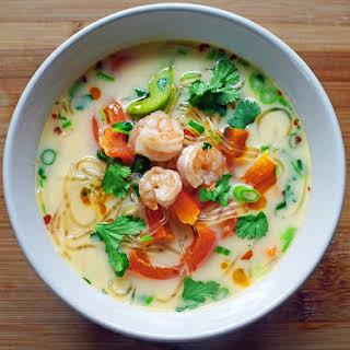 Coconut Soup with Kelp Noodles & Shrimp.