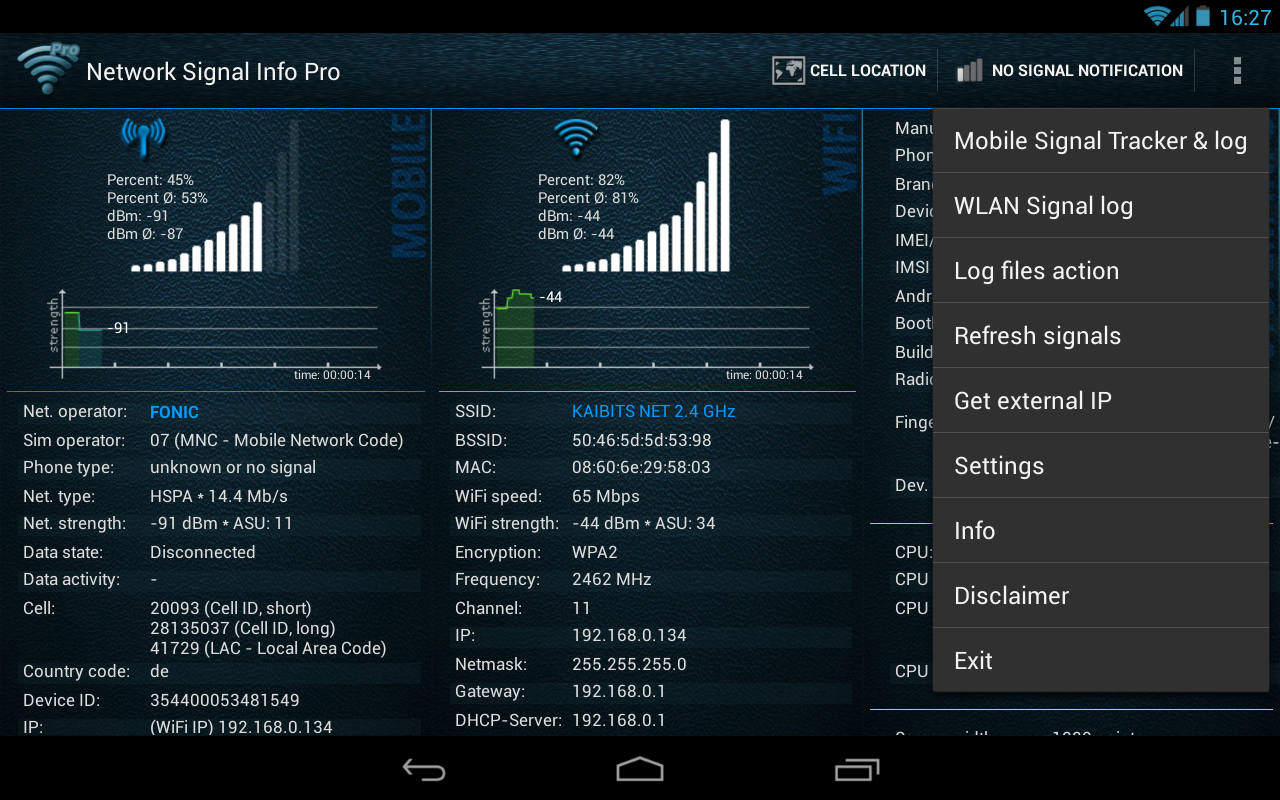 Network Signal Info- screenshot